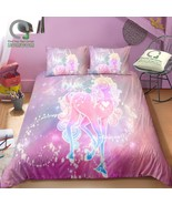 BOMCOM 3D Digital Printing Bedding Set Pink Neon Light Unicorn and Stars... - $102.00