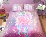BOMCOM 3D Digital Printing Bedding Set Pink Neon Light Unicorn and Stars in Univ
