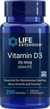 NEW Life Extension Vitamin D3 1000 IU 250 Softgels - $12.51