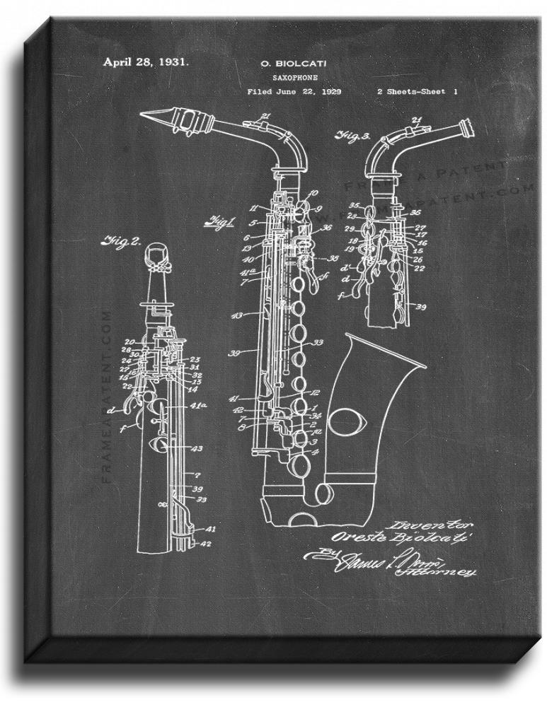 Primary image for Saxophone Patent Print Chalkboard on Canvas