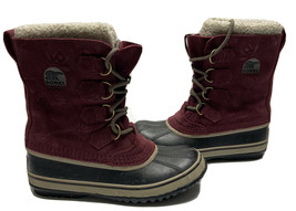 Sorel 1966-649 Womens Sz 7 Waterproof Winter Snow Duck Boots Red Burgund... - $44.88