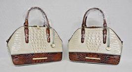 NWT Brahmin Hudson Satchel/Shoulder Bag in Linen Tri-Texture Beige, Pecan & Teal image 8
