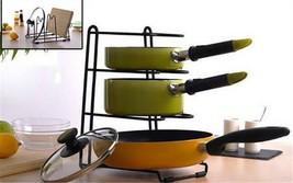 3 Slots Pan Stand Dish Rack Pot Holder Cookware Organizer  - €19,04 EUR