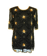 80s VintageKatharine Hart Space Starburst Sheer Black Gold Beaded Sequi... - $39.00