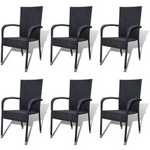 vidaXL 6x Garden Dining Chair Poly Rattan Black Patio Seat Outdoor Furni... - $279.99