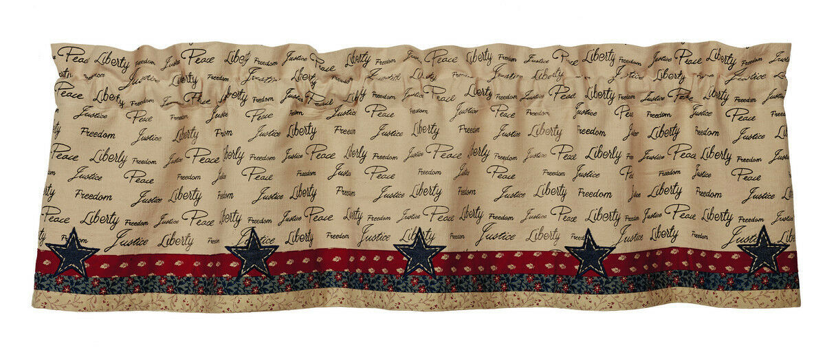 Primary image for primitive patriotic Americana USA script Liberty stars window VALANCE curtain