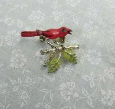 Vintage Red Enamel bird on branch brooch - $4.46