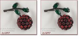 Signed Warner Pair of Rhinestone Cherry Pins (#J1297) - $75.00