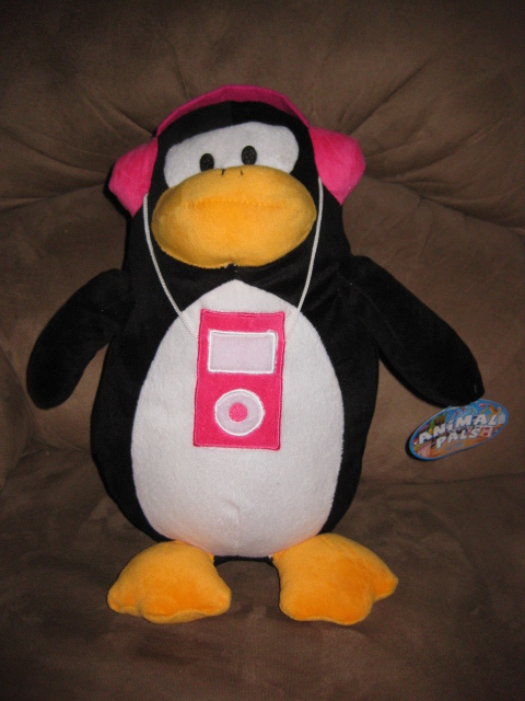 "Primary image for PENGUIN w PINK IPOD Brand New Plush NWT Stuffed Animal w/ Tags 15"" ANIMAL PALS"