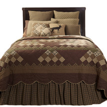 3-pc King - BARRINGTON Quilt and Shams Set - Scalloped Brown, Green- VHC Bran