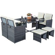 Dreamsales16 9 pcs Cushioned Dining Table Rattan Furniture Set (Mix Gray) - $692.99