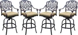 Patio bar stool set of 4 Elisabeth cast aluminum Outdoor swivel Barstool... - $985.05