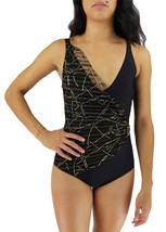 NEW VEE WOMEN'S RETRO STYLE BATHING SUIT ONE PIECE BLACK STYLE:3021BK SIZE 12