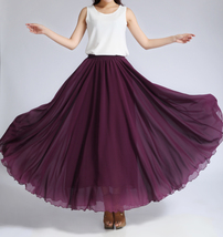 CHIFFON MAXI SKIRT Gray Black Blackberry Maxi Silk Chiffon Skirt Wedding Skirts