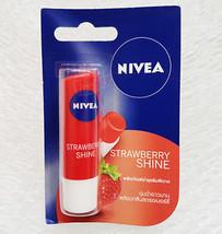5X Nivea Lip Balm Care Fruity Shine Strawberry SPF10 8-HOUR Moisture 4.8 G. - $14.01