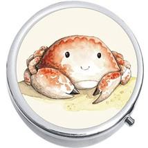 Watercolor Crab Medicine Vitamin Compact Pill Box - $9.78