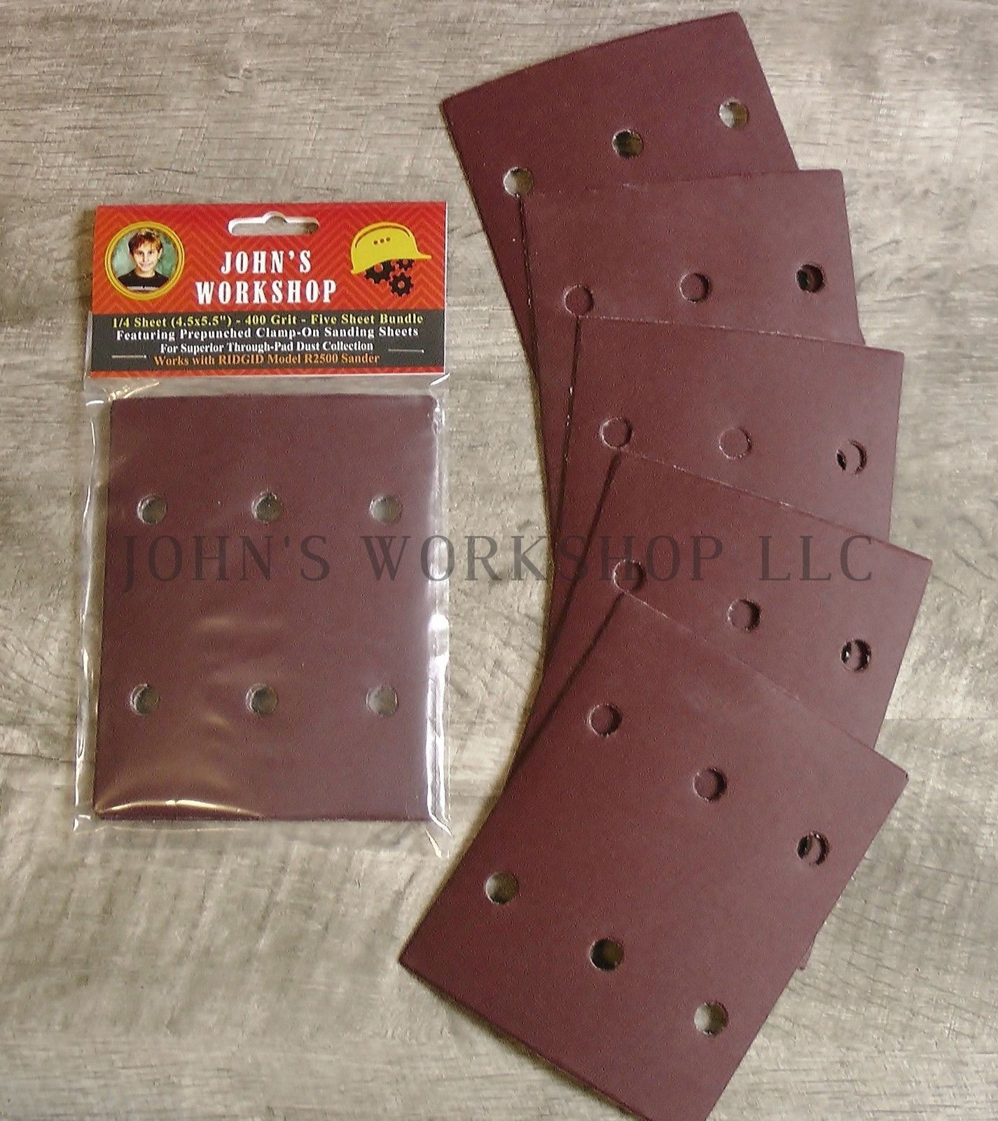 RIDGID R2500 / CRAFTSMAN 315279840 - 400 Grit - Pre-Punched - 5 Sandpaper Bundle - $7.49