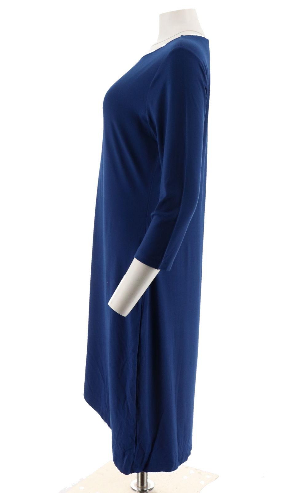 Halston 3/4 Slv Draped Front Crewneck Hi-Low Hem Dress Royal Blue XS NEW A280164 image 2