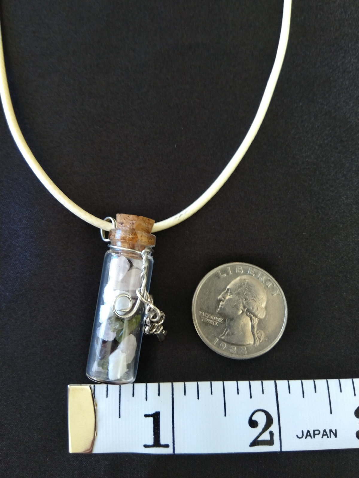 Healing Labradorite Potion Bottle Pendant with Garnet, Peridot, Pink Quartz, and