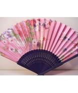 Pink Floral Silk Handheld hand Fan Folding Fans Asian Hand Fan #Fan153 - $9.99