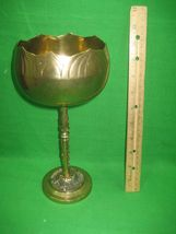 """Vintage Brass Etched Bowl Centerpiece on Pedestal Stand Made In Korea 10"""" Tall image 5"""