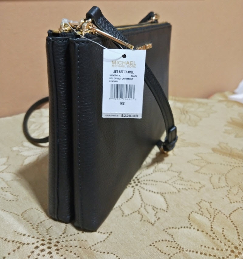 0a78bcfbfa2e Michael Kors Jet Set East West Double Gusset Black Leather Cross Body Bag  adele