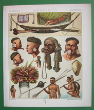 AMERICAN INDIANS Costume Botocudos Camacan - COLOR Litho Print by A. Rac... - $12.60