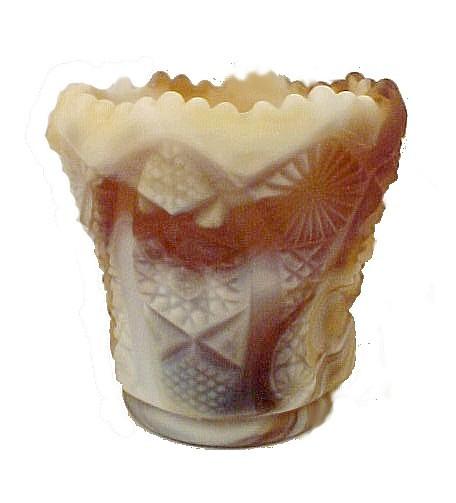 Imperial Carmel Satin Slag Art Glass Toothpick Holder American Glassware Brown