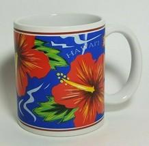 Hilo Hattie Red Hibiscus Blue Coffee Mug Island Heritage 1996 Hawaii Ocean - $15.39