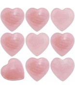 SUNYIK Natural Rose Quartz Pocket Mini Puff Heart Worry Healing Palm Sto... - $10.74