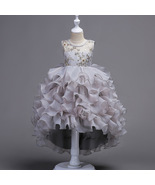 Hot Sale Gray Gold Lace Flower Girl Dress Pricess Short Pageant Gowns Ba... - $40.99