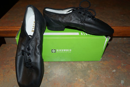 New Bloch Black Leather Split Sole Jazz Shoes Girls Youth 5 - $15.90