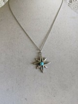 """Sarah Coventry Designer Signed Star Turquoise Pendant Necklace 18""""  - $9.69"""