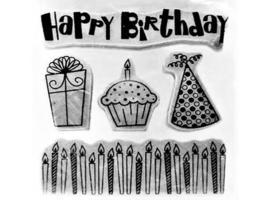 Stampabilities Birthday Rubber Stamp Set #889626