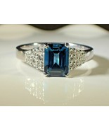 1.50 Ct Emerald Cut Blue Topaz Engagement Women's Ring 14k White Gold Fi... - $106.25