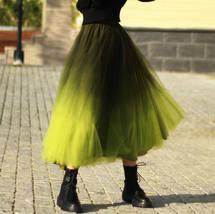 OLIVE GREEN Full Tulle Skirt Green Tie Dye Long Tulle Skirt High Waisted A Line  image 5