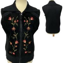 Designers Originals Studio Black Suede Front Sweater Vest Floral Embroid... - $28.48