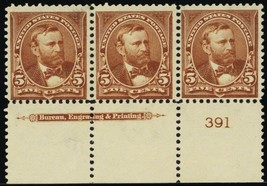 270, Mint F/VF OG NH Imprint & PL# Strip of Three Cat $375.00 - Stuart Katz - $125.00