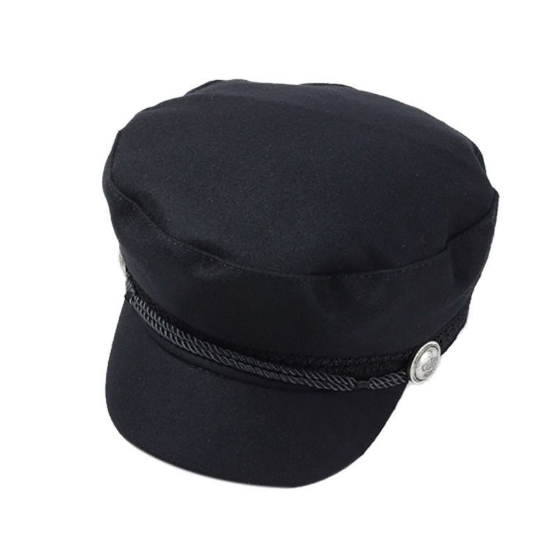 Women Wool Baseball Cap Button Winter Men Hat Octagonal Cap Sun Black Vizor Cap