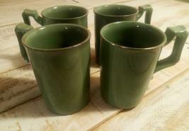 Vintage Japanese Green Glazed Redware Tea Cups Mugs Set of 4 1920s Jade ... - $37.39