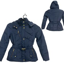 Cole Haan Women's Hooded Down Puffer Coat Navy Blue Quilted Winter Jacke... - $89.10