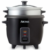 Aroma 3 Cups Uncooked/6 Cups Cooked Rice Cooker, Steamer, Silver ARC-363... - $33.57