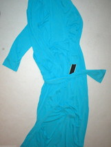 NWT New Natori Blue Robe Womens XS Long Very Soft Solid Silky Pockets Be... - ₨10,855.76 INR