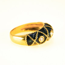 Vintage 18k Gold Green Enamel Ring Uk Size O BHS - $679.96