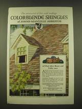 1918 Johns-Manville Asbestos Color-Blende Shingles Ad - Fire-Safe - $14.99