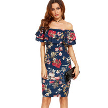 Women Off Shoulder Floral Print Pencil Dress Evening Cocktail Party Slim... - $50.00