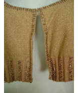 SHELLY M Bolero Sweater - Sparkling Gold Knit with Beading- Long Sleeves... - $18.00