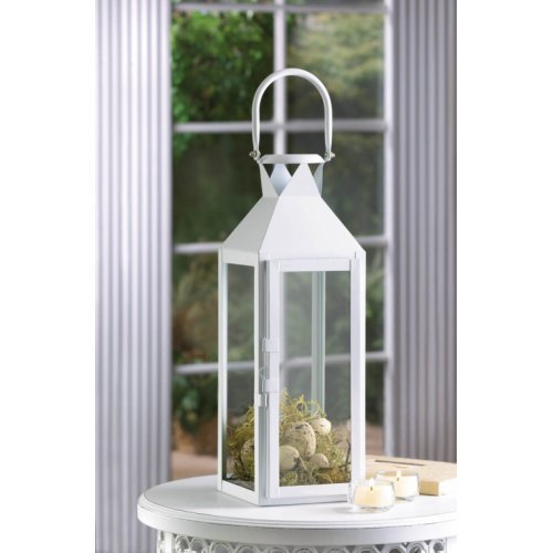 White Manhatten Candle Lantern