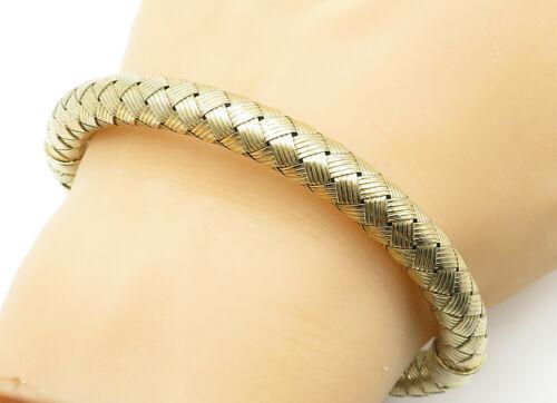 925 Sterling Silver - Vintage Hollow Weaved Gold Plated Bangle Bracelet - B6230