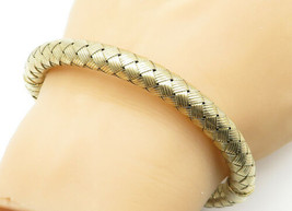 925 Sterling Silver - Vintage Hollow Weaved Gold Plated Bangle Bracelet ... - $56.43